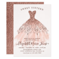 Rose Gold Sparkle Pink Dress Sweet 16th Birthday Invitation