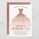 "Rose Gold Sparkle Pink Dress Sweet 16th Birthday Invitation<br><div class=""desc"">Pink Rose Gold Sparkle Dress Sweet 16th Birthday Invitation</div>"