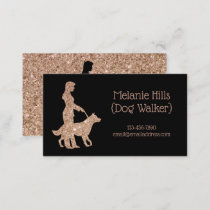Rose Gold Sparkle Pretty Dog Walker Pet Sitter Business Card