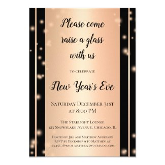 Rose Gold Sparkles New Year's Eve Party Invitation
