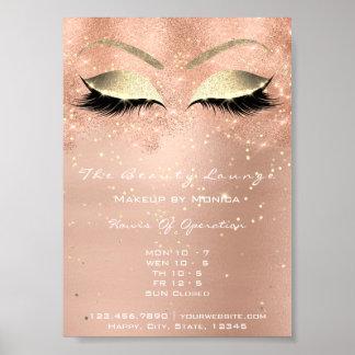 Rose Gold Sparkly Eye Confett Glitter Beauty Salon Poster