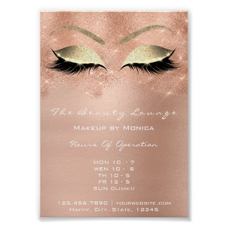 Rose Gold Sparkly Eye White Glitter Beauty Salon Poster