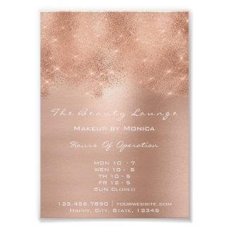 Rose Gold Sparkly Lux White Glitter Beauty Salon Poster