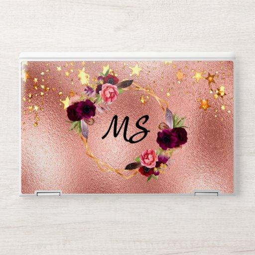 Rose gold stars floral burgundy monogram HP laptop skin