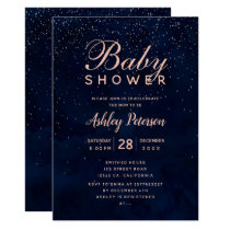 Rose gold stars navy blue watercolor baby shower invitation