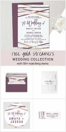 Rose Gold Streamers Wedding Invitation Collection