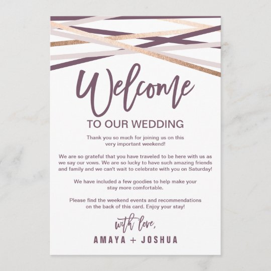 Rose Gold Streamers Welcome Letter & Itinerary Program