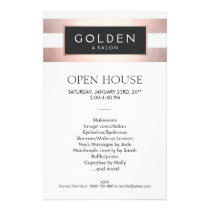 Rose Gold Striped Hair Salon and Spa Flyer