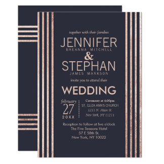 Rose Gold Stripes and Navy Blue Wedding Invitation