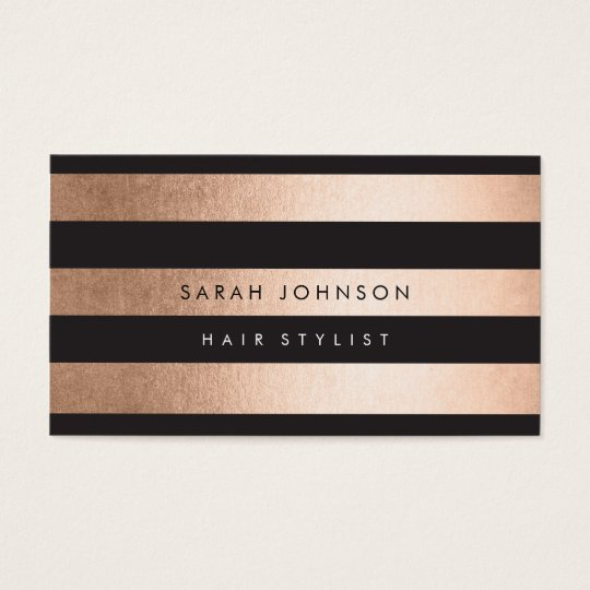 Rose Gold Stripes Hair Stylist Business Cards | Zazzle