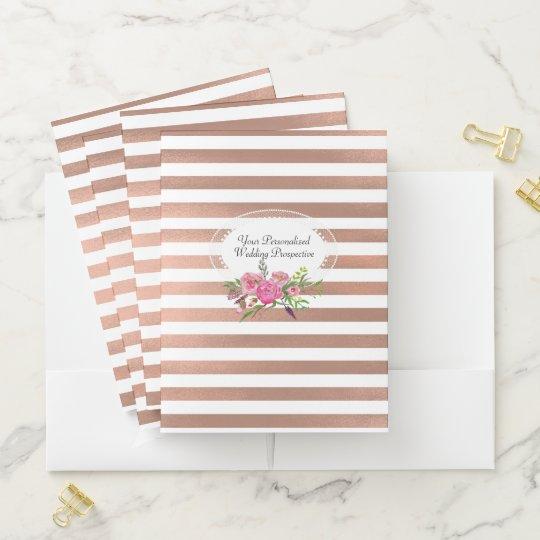 Rose Gold Stripes Wedding Planner Pocket Folders