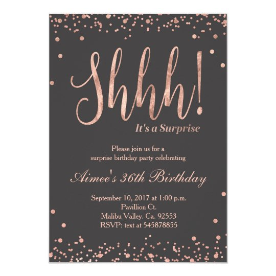 Rose Gold Surprise Birthday Party Invitation – Surprise Birthday Party Invites