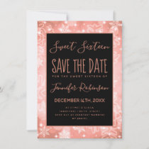 Rose Gold Sweet 16 Birthday Winter Sparkles Save The Date