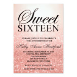 Rose Gold Sweet 16 Glitter Lights Invitation