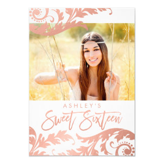 Rose Gold Swirls Photo Sweet 16 Invitations