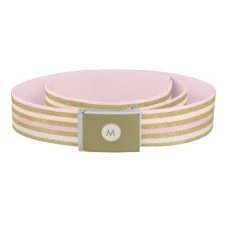 Rose Gold Tan Blush Peach Striped Monogram Belt