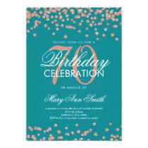 Rose Gold Teal 70th Birthday Glitter Confetti Card
