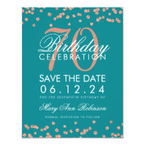 Rose Gold Teal 70th Birthday Save Date Confetti Card