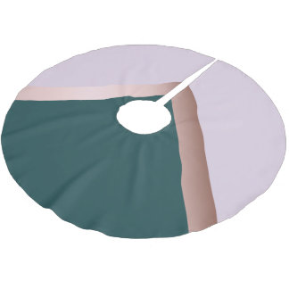 Rose gold teal and purple geometric design brushed polyester tree skirt