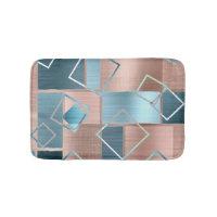 Rose Gold Teal Bath | Unique Trendy Chic Geometric Bath Mat