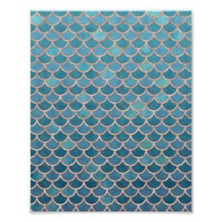 Rose Gold Teal Blue Mermaid Scales Abstract Poster