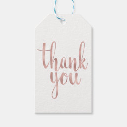 Rose gold thank you favor tags, foil, vertical gift tags