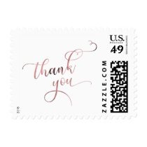 Rose Gold Thank You in Pretty, Ornate Script Font Postage