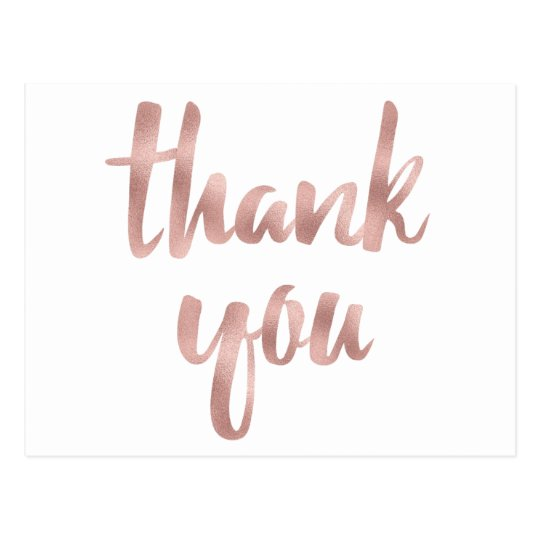 Rose Gold Thank You Postcards Foil Font Postcard