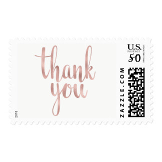 Rose gold thank you stamps, foil, medium postage
