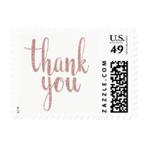 Rose gold thank you stamps, glitter, small postage