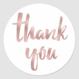 Rose gold thank you stickers