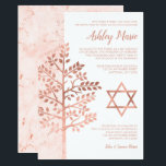"Rose Gold Tree of Life Bat Mitzvah Invitations<br><div class=""desc"">Modern faux rose gold Tree of Life Bat Mitzvah invitations. Easily personalize for your event. Designs are flat printed illustrations/graphics - NOT ACTUAL ROSE GOLD FOIL.</div>"