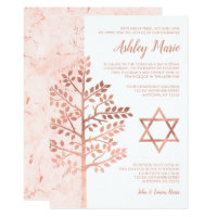 Rose Gold Tree of Life Bat Mitzvah Invitations