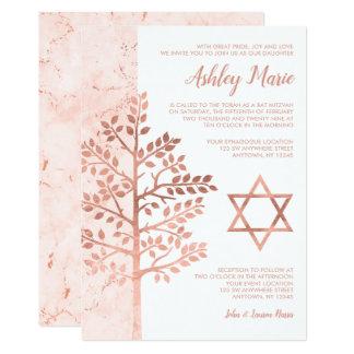Rose Gold Tree of Life Bat Mitzvah Invitations