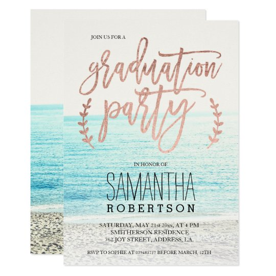Rose gold typography beach graduation party invitation zazzle rose gold typography beach graduation party invitation filmwisefo
