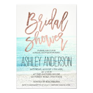 Rose gold typography beach photo bridal shower invitation