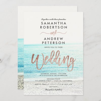 Rose gold typography beach photo wedding invitation