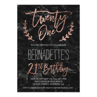 Rose gold typography black marble 21st Birthday Card