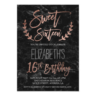 Rose gold typography black marble Sweet SIxteen Card