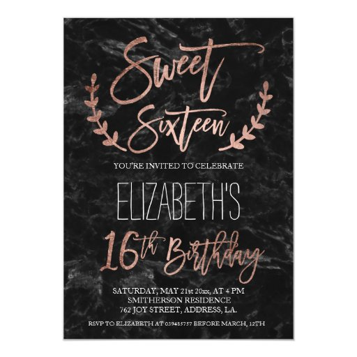 Rose gold typography black marble Sweet SIxteen Card | Zazzle
