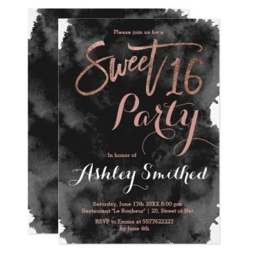Beach Themed Rose gold typography black watercolor Sweet 16 Card