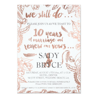 Rose gold typography boho floral vow renewal 3 5x7 paper invitation card