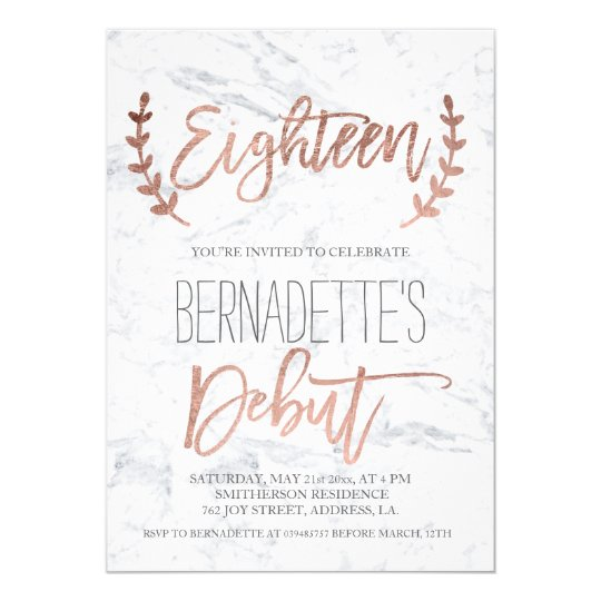 rose gold typography debut marble 18th birthday invitation zazzle com