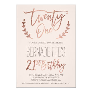 Rose gold typography feathers blush 21st Birthday Card