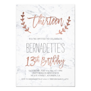 Rose Gold Typography Feathers Marble 13th Birthday Invitation