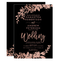 Rose Gold typography floral black chic wedding Invitation