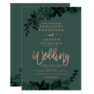 Rose gold typography Floral green wedding Card
