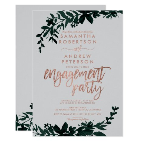 Rose gold typography Floral grey engagement Invitation