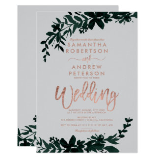 Rose gold typography Floral grey wedding Card