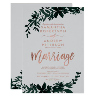 Rose gold typography Floral grey wedding marriage Invitation